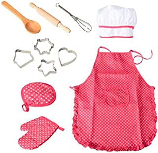 Chef Set for Kids Complete Kids Cooking and Baking Set with Apron for Girls, Chef Hat, and Cooking Mitt, Utensils for Todd...