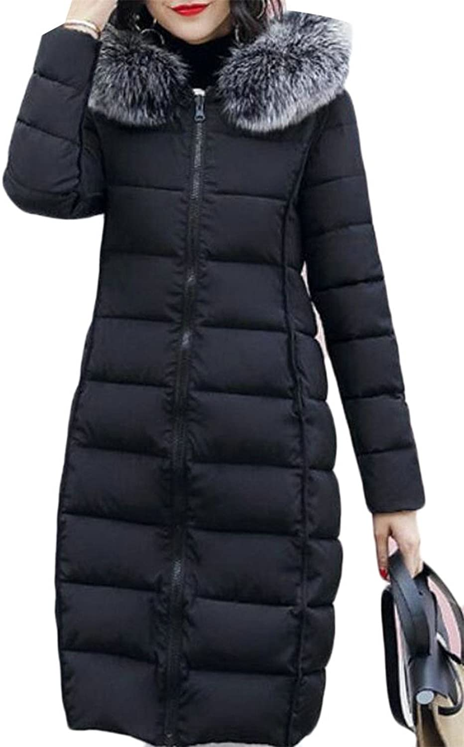 5ff2d55b9f4 GAGA Women's Slim Fit Zipper Solid color Down Coat Quilted Hooded  nooeaw1461-New Clothing