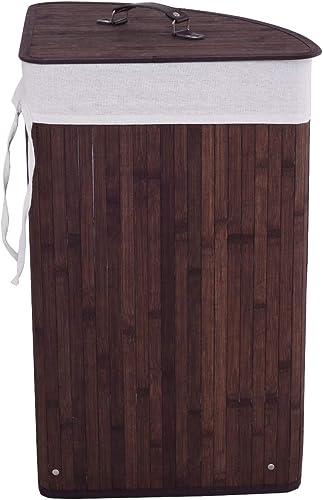 Giantex Bamboo Hamper Laundry Basket Cloth Bin