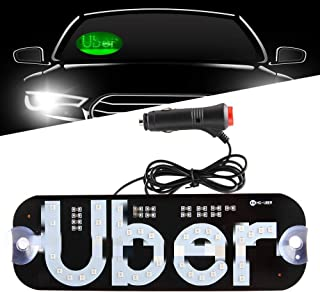 TGAUTO Auto Parts Bigger Size Ride Share LED Sign Decor, Car Lighted Window Decor Lighter Flashing Hook with 2 Larger Suction Cup & DC12V Car Cigarette Charger Inverter, Make Your Car Visible