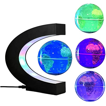 FUZADEL Multi-Color Changing Levitating Globe Magnetic Levitation Floating Globe World Map Educational Gifts for Teens / Adult / Seniors Home / Office Desk Decoration Ornament