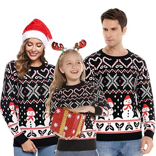 Abollria Maglione da Famiglia Maglie a Maniche Lunghe per Autunno Inverno Pullover Maglione Maglie con Stampa di Fiocchi Pupazzo di Neve per Natale per papà Mamma Bambini