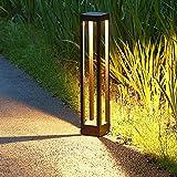 Lampioni da giardino 9W, Luce per esterni paletto moderno 60CM, Lampioncini giardino LED 3000K bianco caldo, Palo illuminazione IP65 impermeabile, Lampione per esterno patio, prato, strada