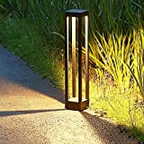 Farolas jardin exterior, Baliza led 9W, Luz de camino exterior de aluminio, IP65 impermeable, 1000lm, 3000K blanco cálido Lámpara de jardín Poste