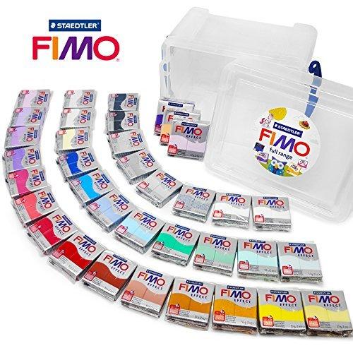 Efecto Fimo 57g Polímero Modelado Moldeado Cocción Al Horno Arcilla - Gama Completa de Todos 36 Colores en Almacenaje Transparente Bañera