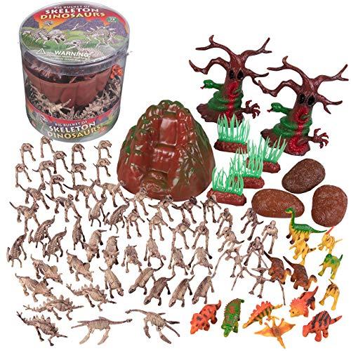 SCS Direct Dinosaur Skeleton Action Figures - Big Bucket of Skeleton Dinosaurs - Huge 75+ Piece Set Full of Fossil Fun