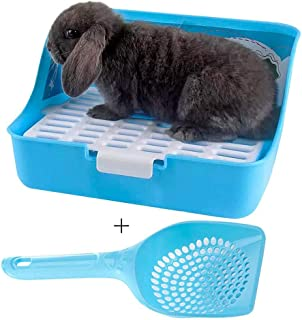 Rabbit Litter Box Potty Training Corner Pan with Grate for Adult Guinea Pigs Ferrets Rats