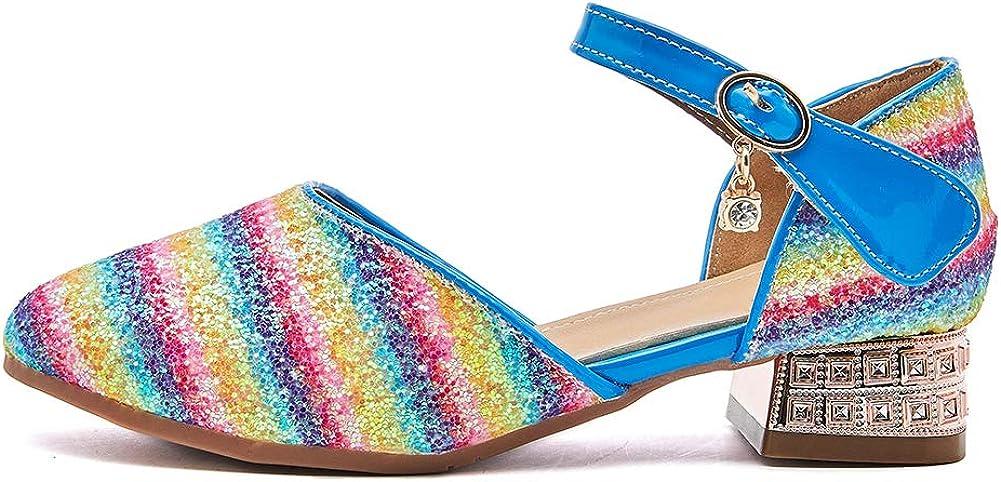 DKZSYIM Girl's Adorable Sparkle Mary Jane Wedding Party Princess Party Dress Shoes,Model KM233