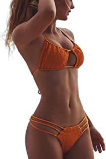 Women Butt Scrunch Bikini Ruched Keyhole Halter Tie Crochet Thong Brazilian Triangle