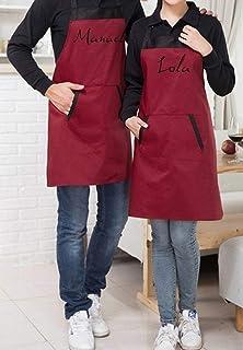 Delantal cocina bicolor ajustable y personalizado con tu nombre. Elige el tipo de letra que más te guste. Un bonito diseño...