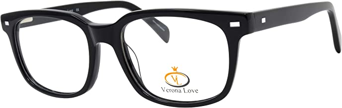 Classic Fashion Optical Frames For Men and Women Replaceable lens Non Prescription Eyeglasses Hand Made Designer Acetate Eyeglasses cute glasses Vintage Classic Black Metal Accent Frame