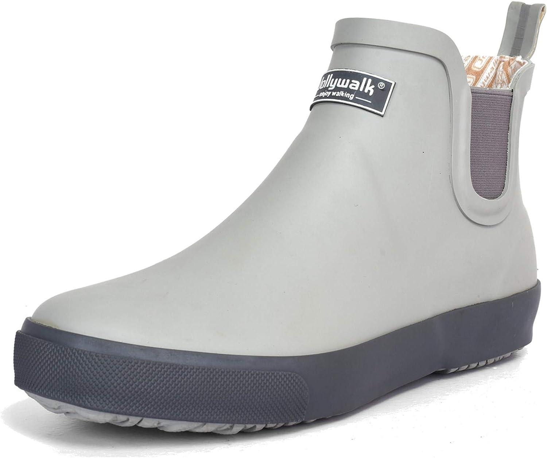 Women's Ankle Rain Boots Waterproof Garden Shoes Anti-Slip Rain Shoes Rubber Sole Unisex Deck Boots Large Size 10.5