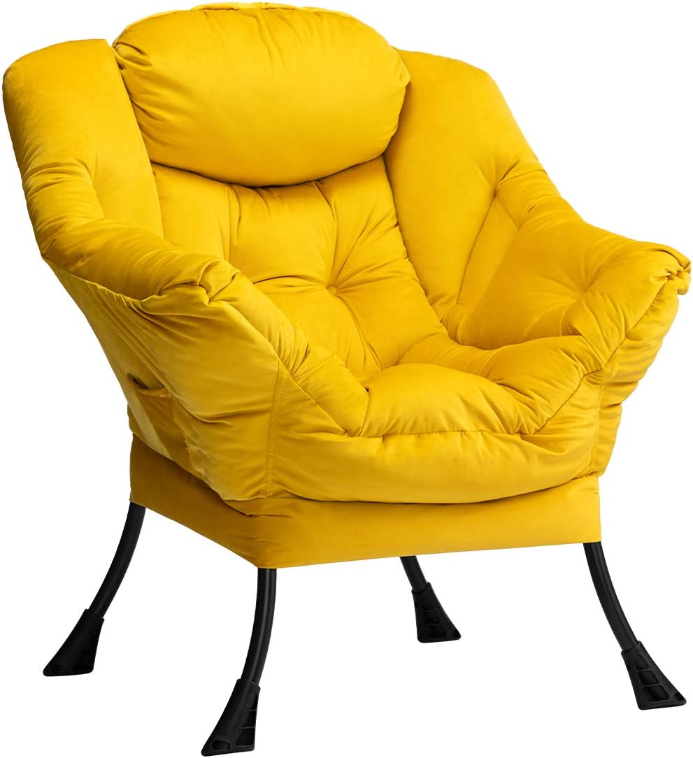 AbocoFur Modern Velvet Discount mail order Quality inspection Fabric Lazy Lo Contemporary Accent Chair