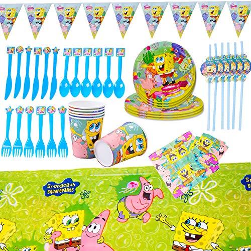 SZWL Party Supplies Set Geschirr, Servieren 6 Gäste Jungen Mädchen Geburtstag Dekorationen Teller Tassen Servietten Tischtuch Papier Banner Babydusche (48PCS)