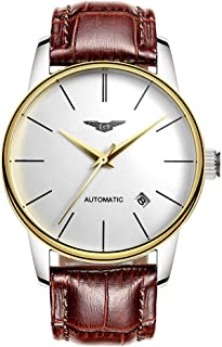 Guanqin Men Analog Business Automatic Self-Winding Mechanical Steel/Leather Wrist Watch Date (2 Gold White Brown)
