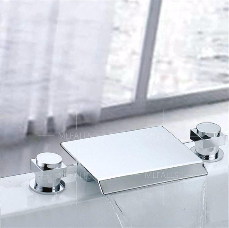 NewBorn Faucet Wasserhhne Warmes und Kaltes Wasser groe Qualitt Moderne Silber Messing verchromt mit Doppelgriff Drei Loch Keramik Ventil Auswurfkrümmer Wasserfall Bad 3-tlg.