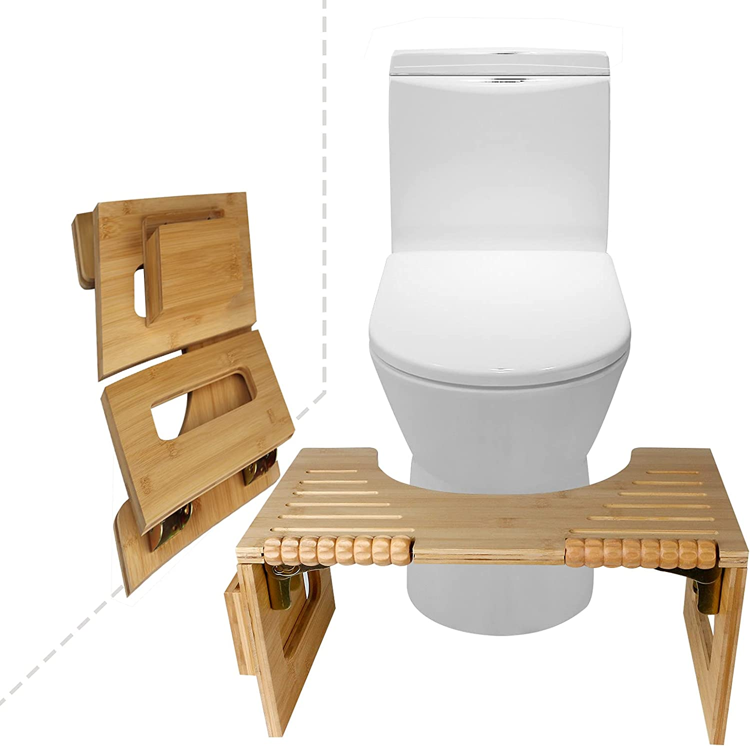 Bamboo Squatting Toilet Stool overseas 8 Portable Inches Folding Rapid rise Height