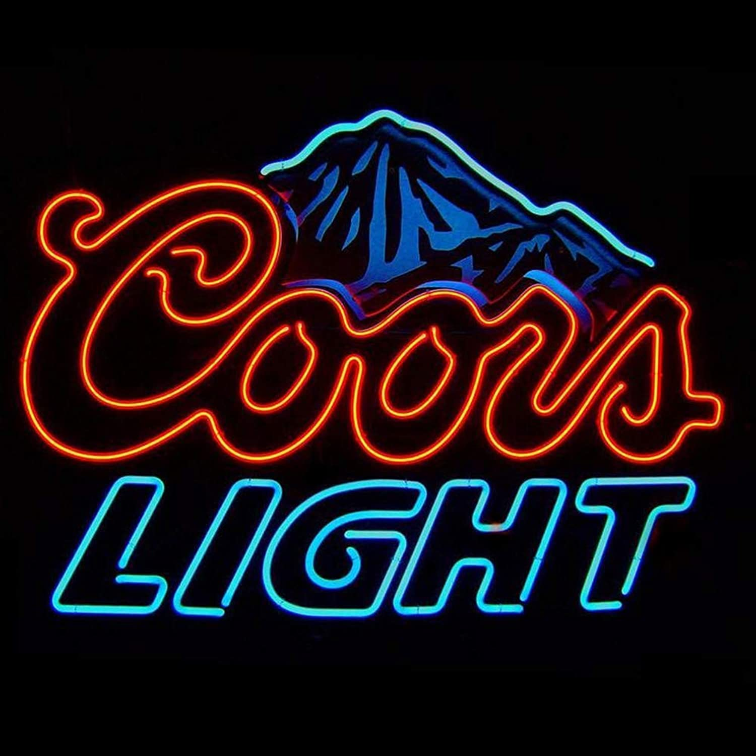 Coors Light Mountain Real Glass Beer Bar Pub Store Party Room Wall Windows Display Neon Signs 19x15