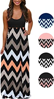 Womens Tank Top Long Maxi Dresses Summer Boho Empire Chevron Tank Top Casual Beach Dresses
