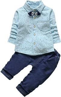 f9a08ceb0dfd0 Sunenjoy 2 PCs Infantile Enfant Bébé Garçons Messieurs Grille Imprimer Tops  + Jeans Pantalon Tenues Vêtements