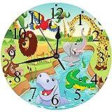 """Mode Moderne Horloge Murale Muette 30cm/12"""",Enfants, Dessin animé Safari Animaux africains nageant dans Le lac Lions et Art de la gir,horloges pour la Maison Salon Cuisine Chambre Bureau école"""