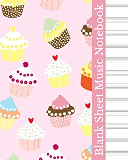 Blank Sheet Music Notebook: Pink Vintage Cupcakes Cover, Music Manuscript Staff Paper for Musicians (100 pages, 12 staves per page)