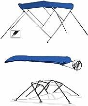 SBU-CV 7 oz Blue 3 Bow Round Tube Boat Bimini TOP Sunshade for BAYLINER 1950 Capri BOWRIDER W/O Swim Step 1986-1988