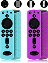 MBODM 2 Pack Firestick Remote Cover, Silicone Fire Remote Cover Compatible with 4K Firestick TV Stick, Firetv Remote Cover, Lightweight Anti-Slip Shockproof (Turquoise+Purple)