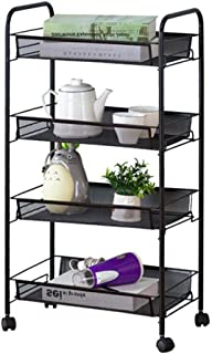 KDBEB 4-Tier Storage s Tower on Wheels,Black Steel Bedside Storage Caddy for Living Room Office