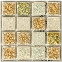 Mosaic Wall Sticker,Uotmiki 20Pcs Self Adhesive Waterproof Marble Tile Floor Wall Decal DIY Kitchen Bathroom Decor (D, 10x10cm)