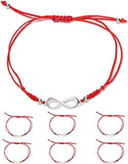 6 Pieces Handmade Kabbalah Red String Bracelets for Women and Men, Adjustable Braided Thread Friendship Jewelry, Gift for Kids, Symbol for Luck, Fortune, Protection and Prosperity