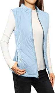 Allegra K Women's Stand Collar Lightweight Gilet Quilted Zip Vest Blue L (AU 16)