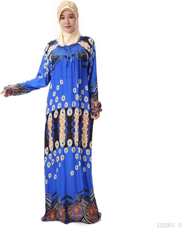 BaronHong Women's Muslim Islamic Robe Abaya Maxi Dress Lace Floral Printed