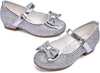 Girls/' Fashion Ankle Strap Dress Shoes size 1 2 3 SILVER