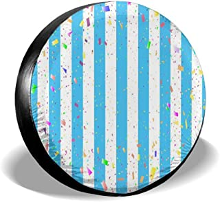 All agree Spare Tire Cover Chic Blue White Stripe Streak Party Universal Car Rear Tire Covers RV Wheel Cover Tires Protectors for Camper, Trailer, SUV, Truck, Boat, Motorhome, Waterproof