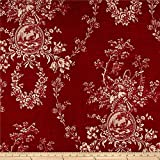 Waverly Country House Toile Red Linen, Fabric by the Yard