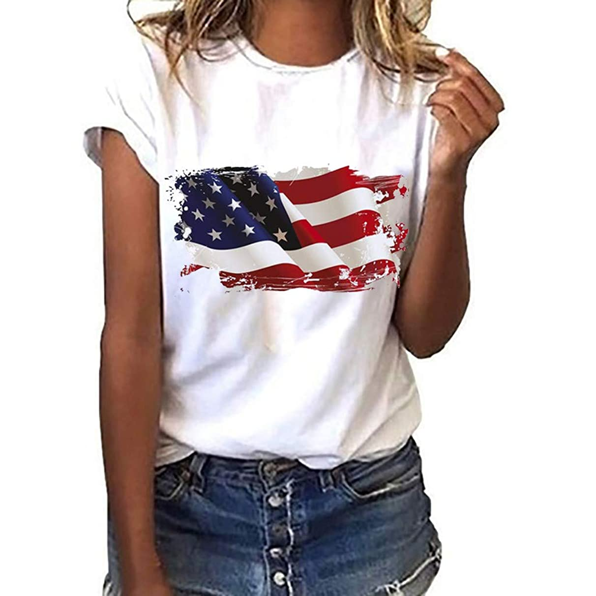 Weiliru Independence Day Women Plus Size Flag Printed Short Sleeve T-Shirt Tops