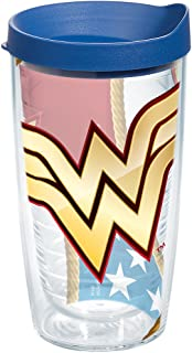 Tervis 1211880 Wonder Woman Colossal Tumbler with Wrap and Blue Lid 16oz, Clear