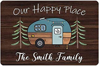 "Personalized Camper Doormat Our Happy Place Custom Camping, Rv Door Mat with Family Name 24"" X 16"" Indoor Outdoor Funny En..."