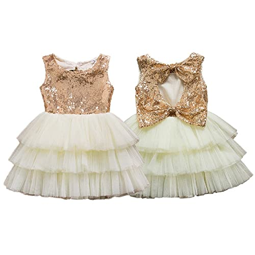 dc38e61bc2f1 IIYoYo Toddler Baby Girls Kids Sequins Tulle Flower Wedding Pageant  Princess Dresses with Big Bowknot for