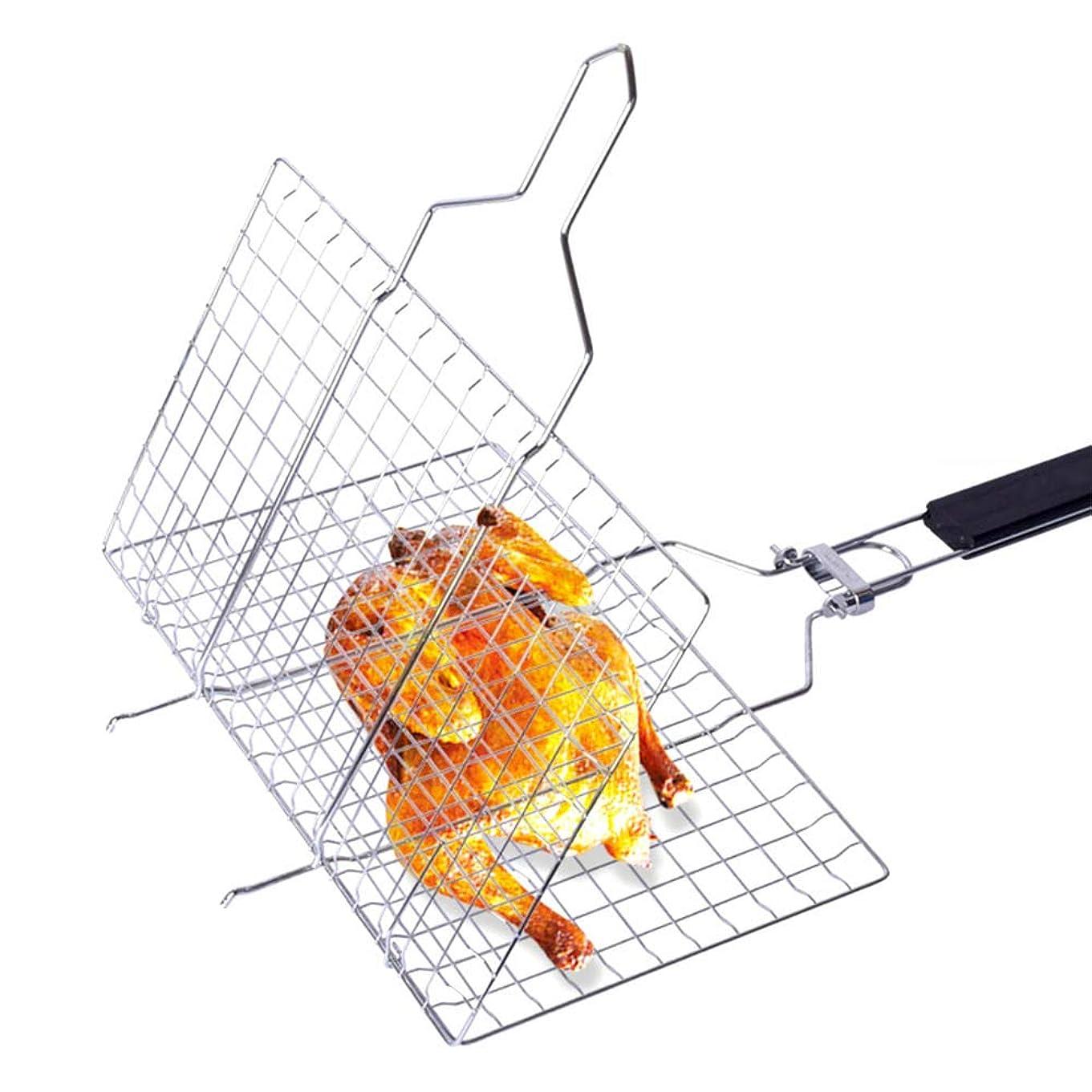 寸前保持スノーケルポータブルグリルバスケットBBQバーベキューツール作業バーベキューグリルバスケットは、調節可能なハンドルと魚野菜エビのために、収納袋が付属します