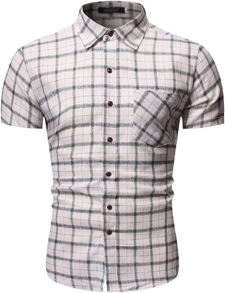 DJASM Shirts for Men Plaid Printed Turn Down Collar Short Sleeve Casual Shirts Summer Button Down Shirt Harajuku Mens Shirts (Color : White, Size : XXL Code)