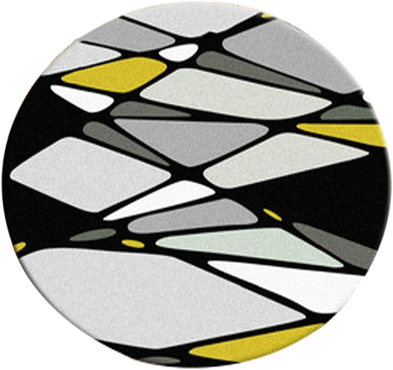 precios al por mayor Lqdt-Alfombra rojoonda Nordic Simple Round Carpet Modern Cloakroom Studio Studio Studio Sala de Estar Dormitorio Estudio Ordenador Silla Colgante Cesta Rug Amarillo Ggeometría (Tamaño   Diameter-160CM)  hermoso