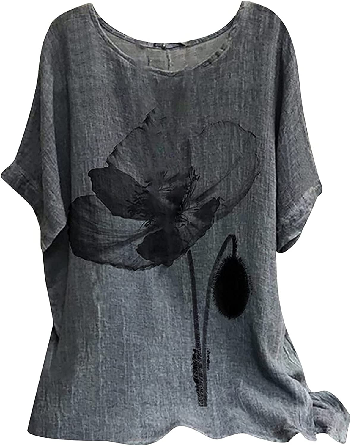 Women's Loose Cotton Linen Blouse Round Neck with Chinese Frog Button Tops Swing Pleated Loose Ruffle Hem Blouse