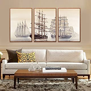 Paintsh Scandinavian Style Sofa Wall Decorative Painting Triple Modern Living Room Living Room Landscape Paintings Sailing...