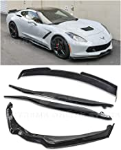 Replacement For 2014-2019 Corvette C7 ALL Models | Z06 Stage 2 PAINTED CARBON FLASH METALLIC Aerodynamic Full Body Combo Kit Front Splitter Carbon Fiber Side End Caps With Side Skirts & Rear Spoiler