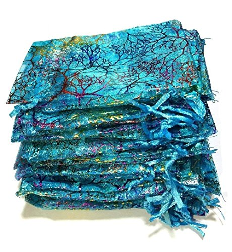 Giveet 100 Pieces Coralline Blue Organza Gift Bags, Drawstring Pouches Jewelry bags, Candy Pouch Chocolate Pouch Party Wedding Favor Gift Bag (4.7 * 3.5 Inch)