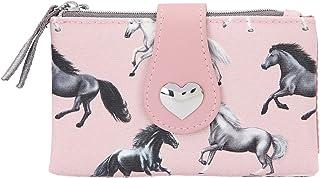 Depesche 11441 Miss Melody - Portemonnaie im Lovely Horses Design, rosa Geldbörse mit Pferde-Motiv, ca. 14,5 x 9 x 2 cm gr...
