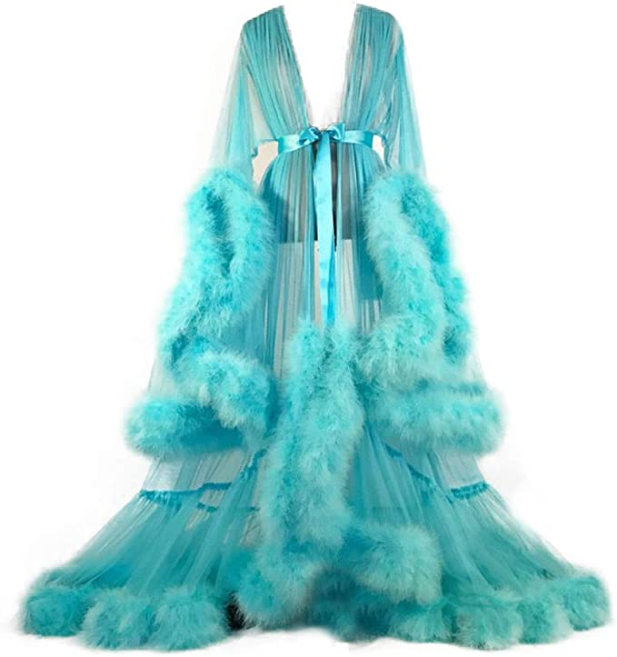 Vintage Nightgowns, Pajamas, Baby Dolls, Robes Women Sexy Feather Long Wedding Scarf Illusion Nightgown Robe Perspective Sheer Bathrobe Sleepwear $69.90 AT vintagedancer.com