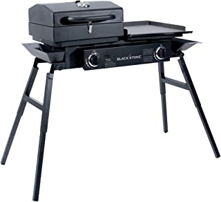 Blackstone Grills Tailgater - Portable Gas Grill and Griddle Combo - Barbecue Box - Two Open Burners â   Griddle Top - Adjustable Legs - Camping Stove Great for Hunting, Fishing, Tailgating and More